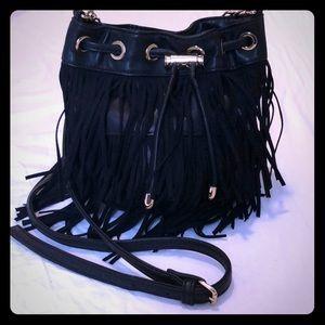 *LIKE NEW* Black Fringe satchel w/ gold details